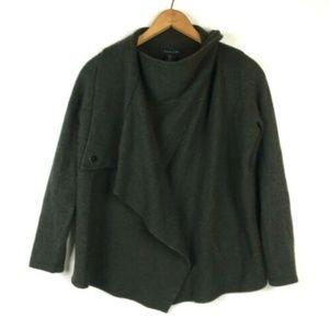 Tahari Merino Wool Snap Neck Sweater Cardigan M